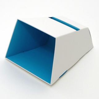 電源不要の紙製スピーカースタンド スマートホーンCRAFT ホワイト×ブルー iPhone 4/4S/5/5S/5C