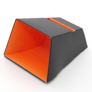 電源不要の紙製スピーカースタンド スマートホーンCRAFT ブラック×オレンジ iPhone 4/4S/5/5S/5C