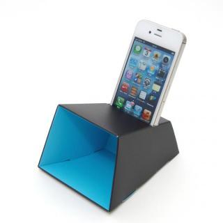 電源不要の紙製スピーカースタンド スマートホーンCRAFT ブラック×ブルー iPhone 4/4S/5/5S/5C