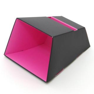 電源不要の紙製スピーカースタンド スマートホーンCRAFT ブラック×ピンク iPhone 4/4S/5/5S/5C