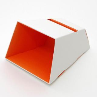 電源不要の紙製スピーカースタンド スマートホーンCRAFT ホワイト×オレンジ iPhone 4/4S/5/5S/5C