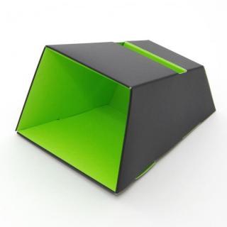 電源不要の紙製スピーカースタンド スマートホーンCRAFT ブラック×グリーン iPhone 4/4S/5/5S/5C