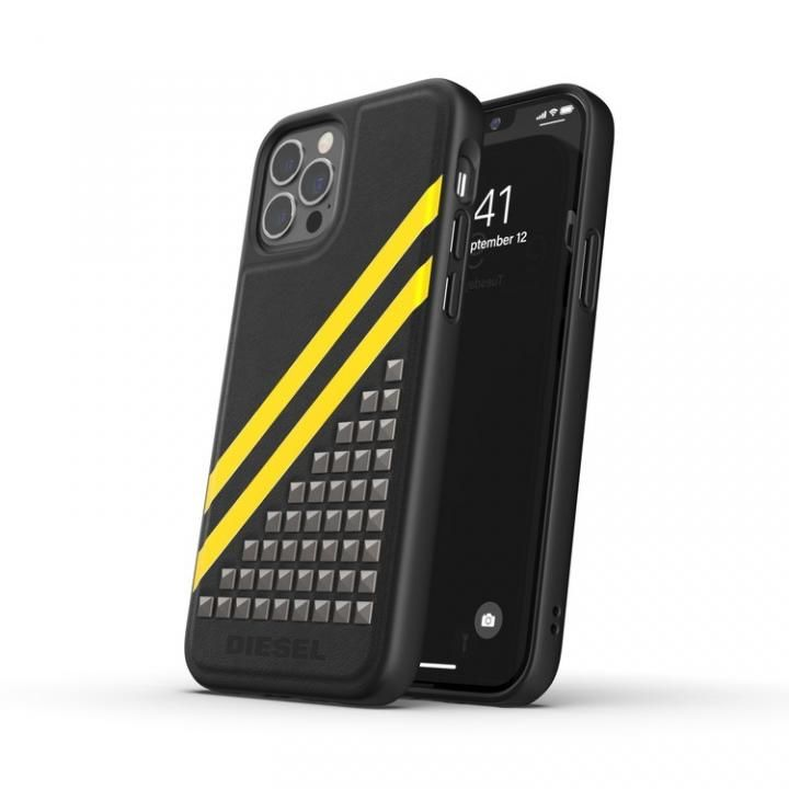 DIESEL Premium Leather Studs Case SS21 Black/Yellow iPhone 12/12 Pro_0