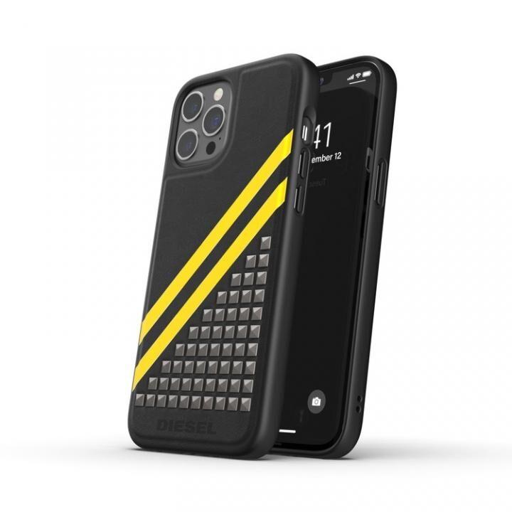 DIESEL Premium Leather Studs Case SS21 Black/Yellow iPhone 12 Pro Max_0