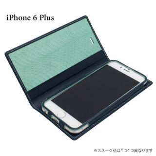 [初回生産限定]GRAMAS フルレザー手帳型ケース 蛇革内貼り ネイビー iPhone 6s Plus/6 Plus
