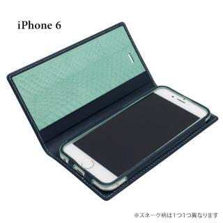 [初回生産限定]GRAMAS フルレザー手帳型ケース 蛇革内貼り ネイビー/ターコイズ iPhone 6s/6