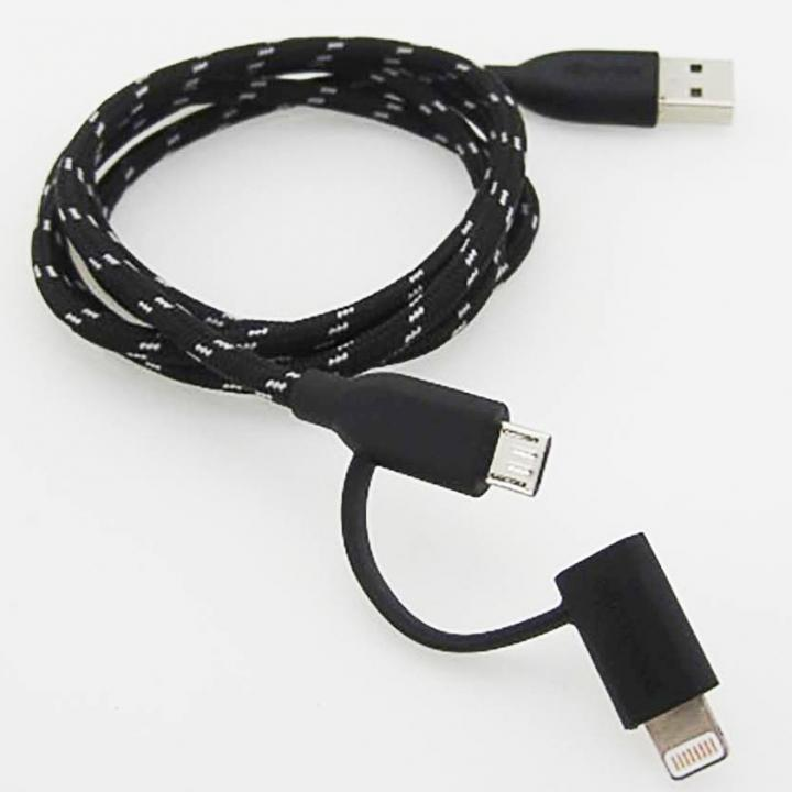 [1m]duocable Lightning MicroUSB 2in1 タフケーブル  ブラック