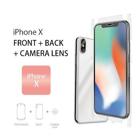 iPhone XS/X フィルム Wrapsol ULTRA (ラプソル ウルトラ) 衝撃吸収フィルム 全面保護 (液晶面&側面+背面) タイプ+カメラレンズ用フィルムセット iPhone XS/X_0