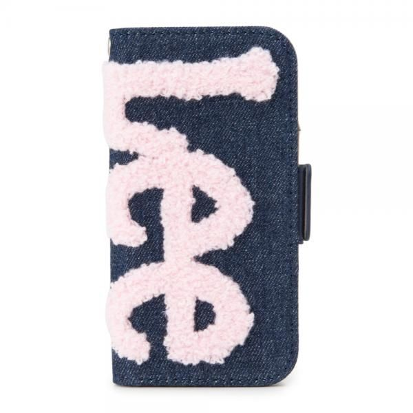 Lee サガラ刺繍 手帳型ケース ネイビー/ピンク iPhone 8/7/6s/6