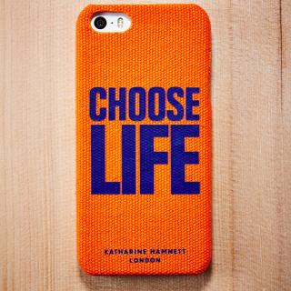 キャサリン・ハムネット iPhone SE/5s/5 ファブリックカバーセット(オレンジ)