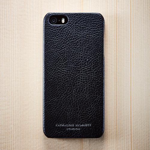 キャサリン・ハムネット エコレザーカバーセット ブラック  iPhone SE/5s/5ケース