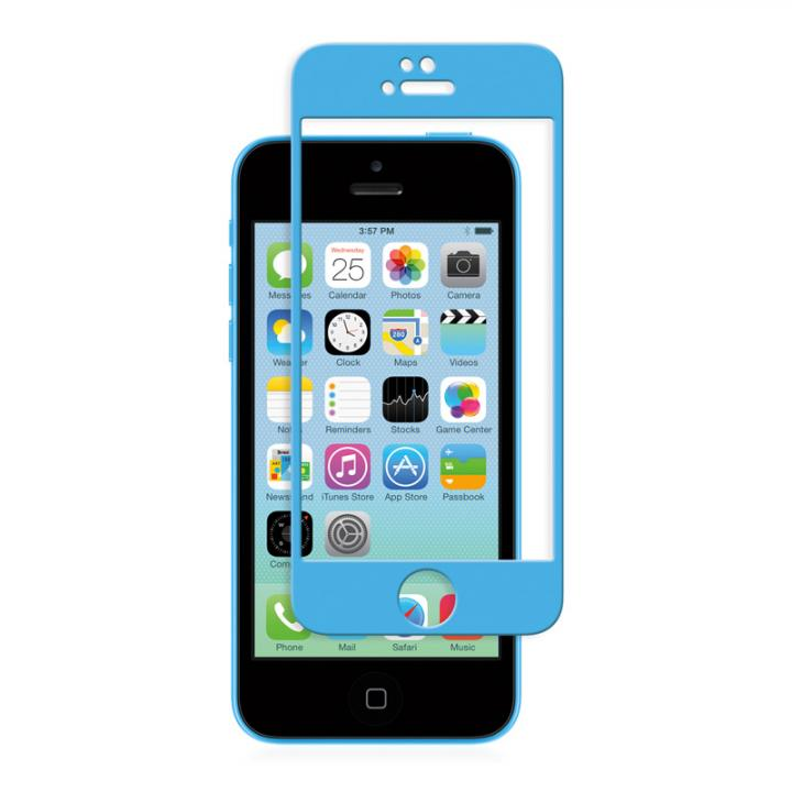 iPhone SE/5s/5 フィルム moshi iVisor 硬度9H強化ガラスバブルフリー  iPhone SE/5s/5/5c ブルー_0