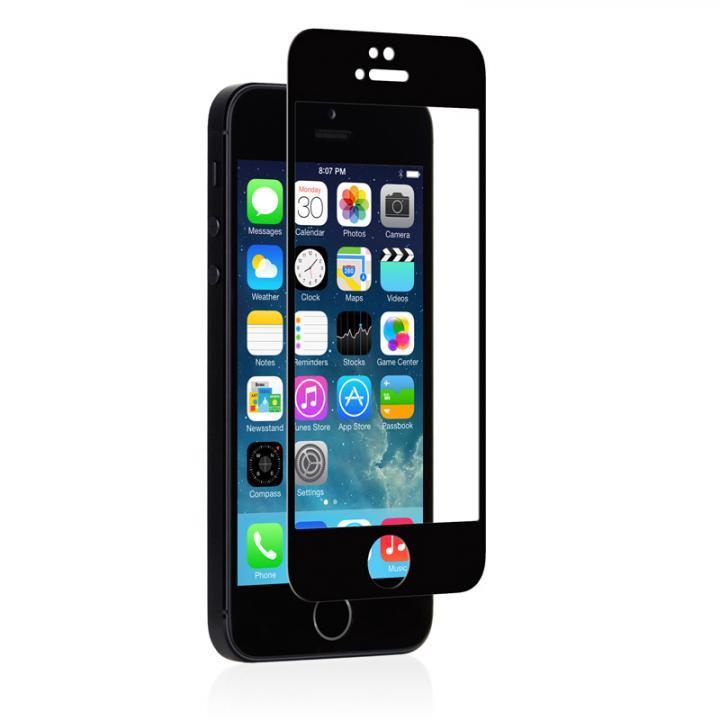 【iPhone SE/5s/5フィルム】moshi iVisor 硬度9H強化ガラスバブルフリー  iPhone SE/5s/5/5c ブラック_0