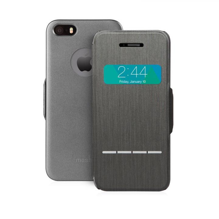 フリップカバーを閉じたまま通話ができる moshi スチールブラック iPhone SE/5s/5 手帳型ケース