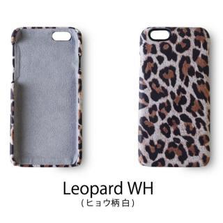 日本製天然皮革使用 レザーケース ヒョウ柄白 iPhone 6