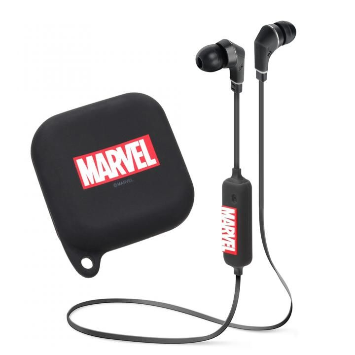 MARVEL ワイヤレスステレオイヤホン シリコンポーチ付き Bluetooth 4.1搭載  ロゴ/ブラック_0