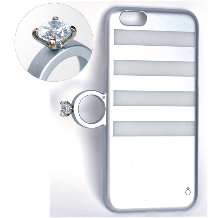 iPhone6 ケース 指輪の付いたiPhone 6ケース ジュエルフォン ボーダーシルバー_0