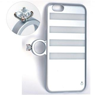 【iPhone6ケース】指輪の付いたiPhone 6ケース ジュエルフォン ボーダーシルバー