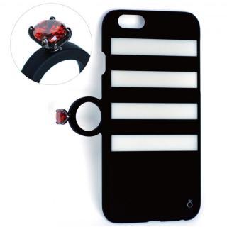 【iPhone6ケース】指輪の付いたiPhone 6ケース ジュエルフォン ボーダーブラック
