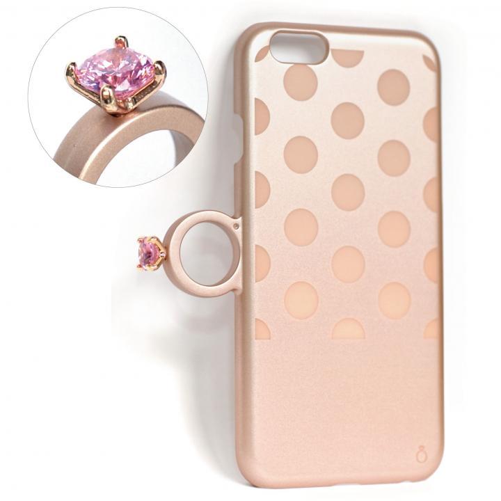 iPhone6 ケース 指輪の付いたiPhone 6ケース ジュエルフォン ドットゴールド_0
