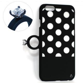 iPhone6 ケース 指輪の付いたiPhone 6ケース ジュエルフォン ドットブラック