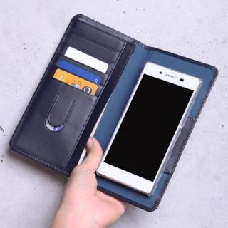 お札も入る手帳型汎用スマートフォンケース Simoni(シモーニ) ネイビー