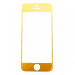 【iPhone SE/その他の/iPodフィルム】[0.33mm]ゴールドiPhoneへ変身 強化ガラス ゴールド iPhone 5s/5c/5
