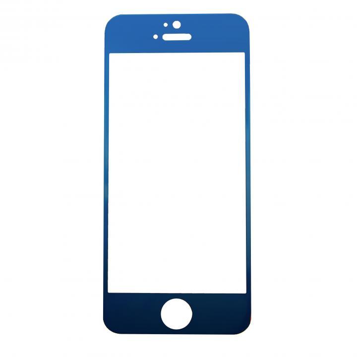 【iPhone SE/5s/5フィルム】[0.33mm]ブルーiPhoneへ変身 強化ガラス ブルー iPhone 5s/5c/5_0