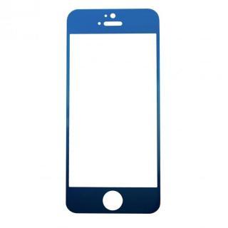 【iPhone SE/その他の/iPodフィルム】[0.33mm]ブルーiPhoneへ変身 強化ガラス ブルー iPhone 5s/5c/5