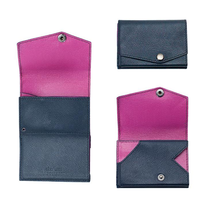 小さい財布 abrAsus(アブラサス) AppBankモデル オリジナルダークネイビー×光沢ピンク_0
