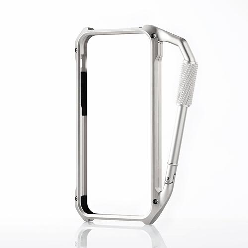 iPhone SE/5s/5 ケース iPhone SE/5s/5用アルミバンパー カラビナ一体型 シルバー_0