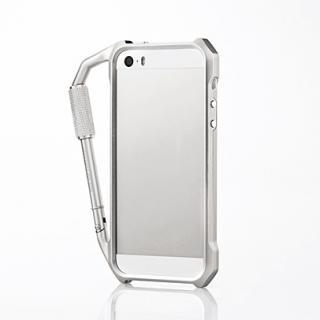 【在庫限り】iPhone5s/5用アルミバンパー カラビナ一体型 シルバー?送料無料
