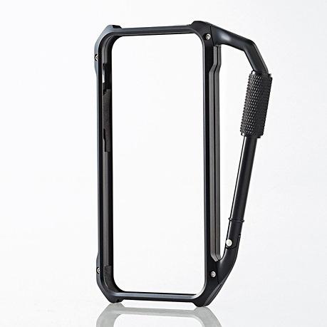 【iPhone SE/5s/5ケース】iPhone SE/5s/5用アルミバンパー カラビナ一体型 ブラック_0