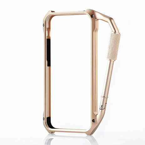 iPhone SE/5s/5 ケース iPhone SE/5s/5用アルミバンパー カラビナ一体型 ゴールド_0