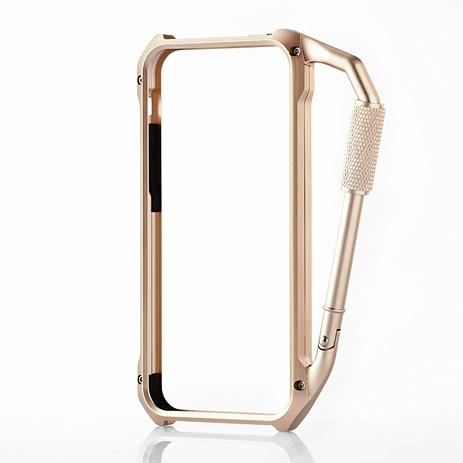 【iPhone SE/5s/5ケース】iPhone SE/5s/5用アルミバンパー カラビナ一体型 ゴールド_0
