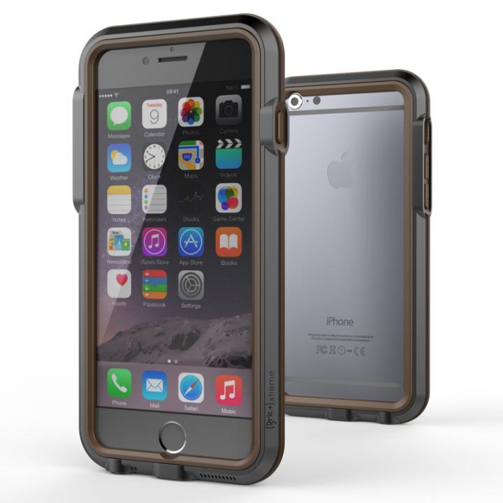 耐衝撃アルミバンパー BricWave Extreme チャコールグレー/ブラウン iPhone 6