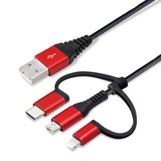 Lightning/Type-C/Micro USB 3in1 USBタフケーブル 1m ブラック/レッド
