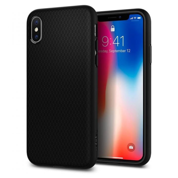 【iPhone Xケース】Spigen リキッドエアー マットブラック iPhone X_0