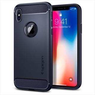 【iPhone Xケース】Spigen ラギッドアーマー ミッドナイトブルー iPhone X