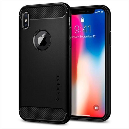 【iPhone Xケース】Spigen ラギッドアーマー マットブラック iPhone X_0