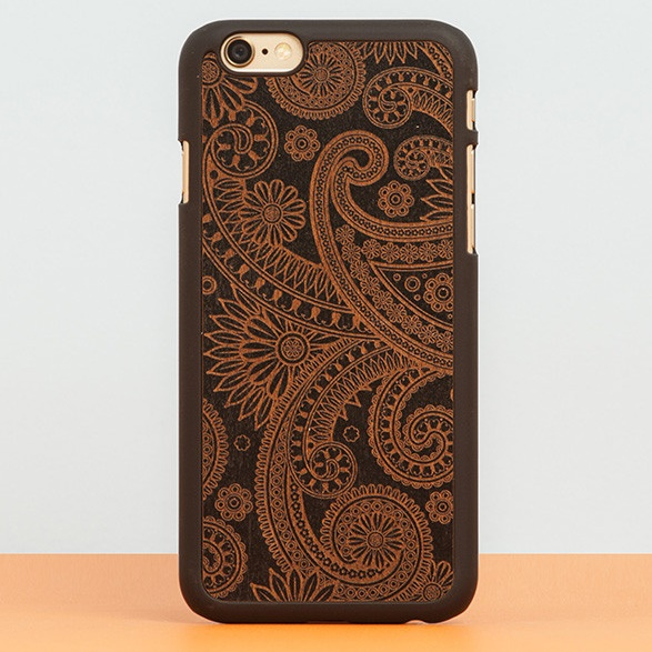 【iPhone6ケース】スナップオン 天然木ケース DECORATED-DAMASKED Black iPhone 6_0