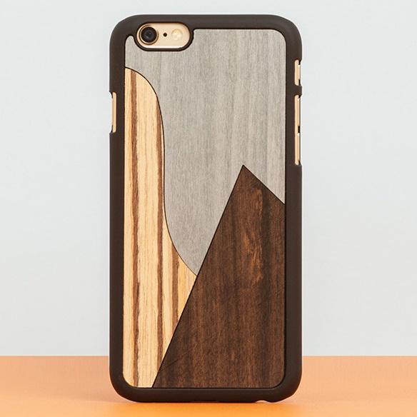 【iPhone6ケース】スナップオン 天然木ケース INLAYS-PATCHWORK Ebony iPhone 6_0