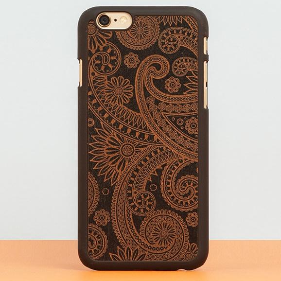 iPhone6 Plus ケース スナップオン 天然木ケース INLAYS DECORATED-DAMASKED Black_0