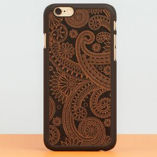 【iPhone6 Plusケース】スナップオン 天然木ケース INLAYS DECORATED-DAMASKED Black
