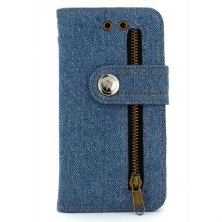 デニム生地手帳型ケース ブルー iPhone 6 Plus
