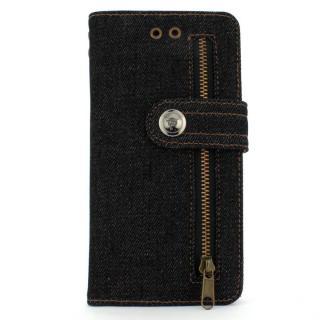 デニム生地手帳型ケース ブラック iPhone 6 Plus