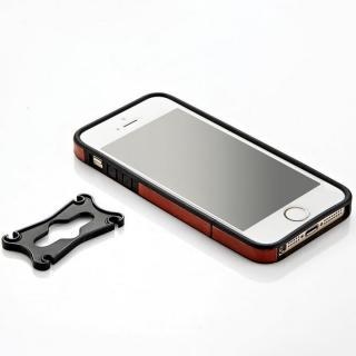 iPhone SE/5s/5用 PUレザーバンパーケース(ブラウン)