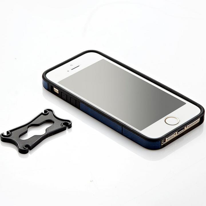 iPhone SE/5s/5用 PUレザーバンパーケース(ネイビー)