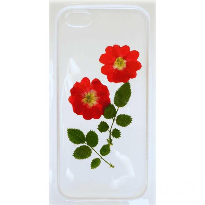 iPhone SE/5s/5用ケース 生花 赤バラ