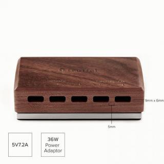 36W 5ポート USB急速充電器 ACアダプター truffol Station5 クルミ